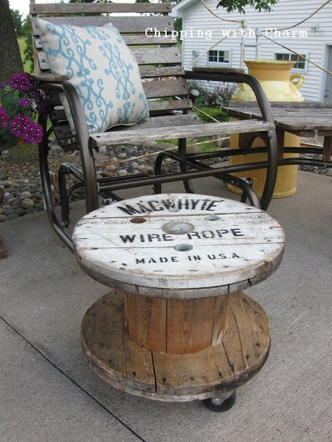 Salvaged wooden spool side table by Chipping with Charm