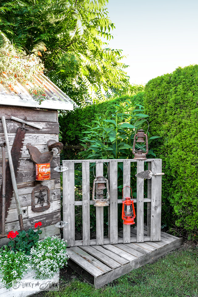 Pallet wood gate and boardwalk attached to garden shed on FunkyJunkInteriors.net