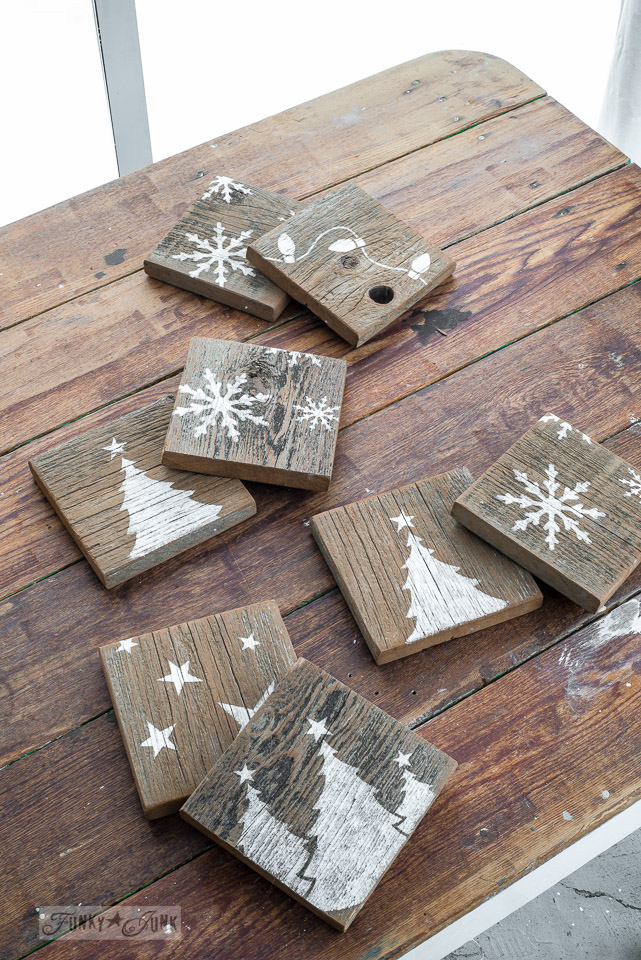 Rustic reversible coasters as gifts, by Funky Junk Interiors