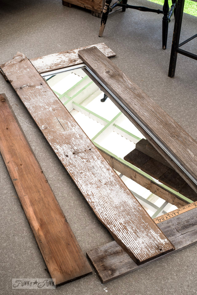 Outfitting a plain mirror with reclaimed wood for a new frame