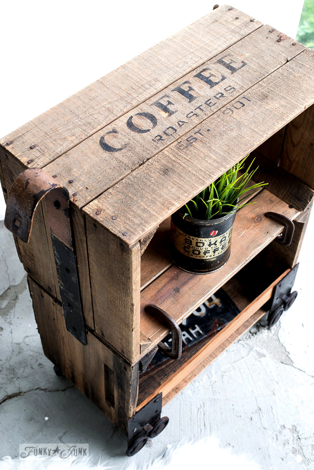 How to make this faux industrial cart coffee crates side table stenciled with Funky Junk's Old Sign Stencils | funkyjunkinteriors.net #christmas #crates #rustic #furniture #funkyjunk